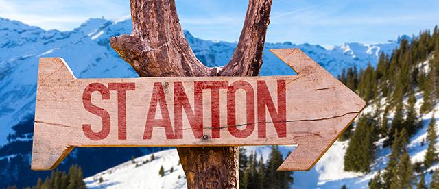 Wooden Arrow points to St. Anton